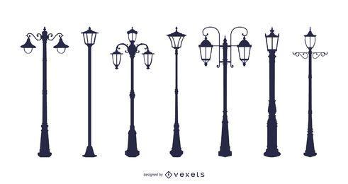 Vector de lámpara de araña de lámparas de calle de estilo europeo
