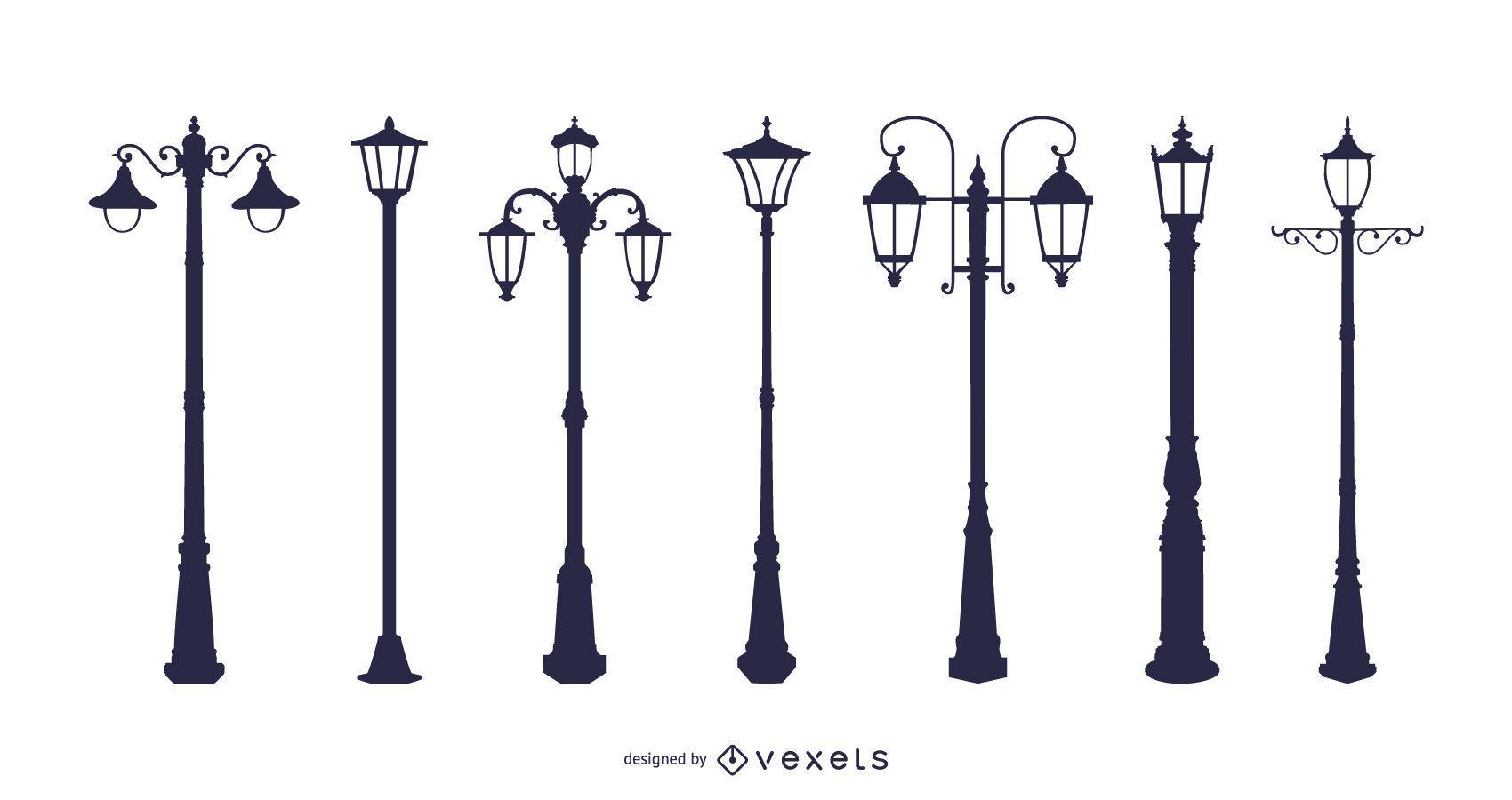 Europeanstyle Street Lamps Chandelier Lamp Vector