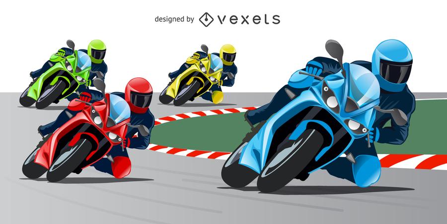 Conjunto de 4 motociclistas