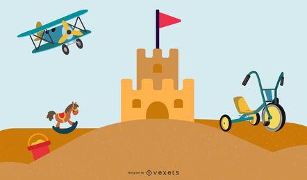 Castelo de vetor e brinquedos