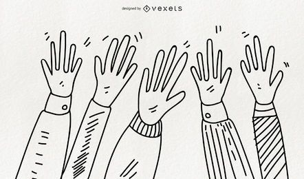 Hand-drawn hands illustrations
