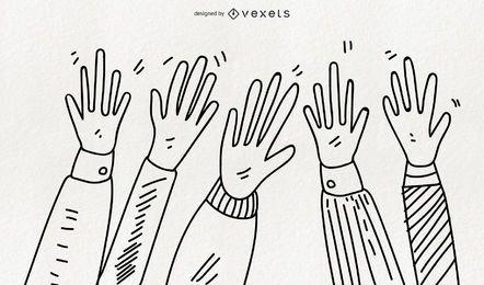 Ilustrações de mãos desenhadas à mão