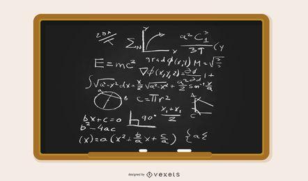 Quadro-negro de vetor preenchido com equações