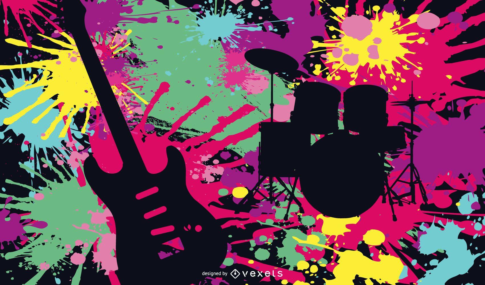 Colorful instruments illustration design