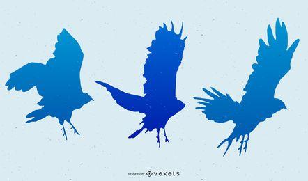 blue flying birds illustration set