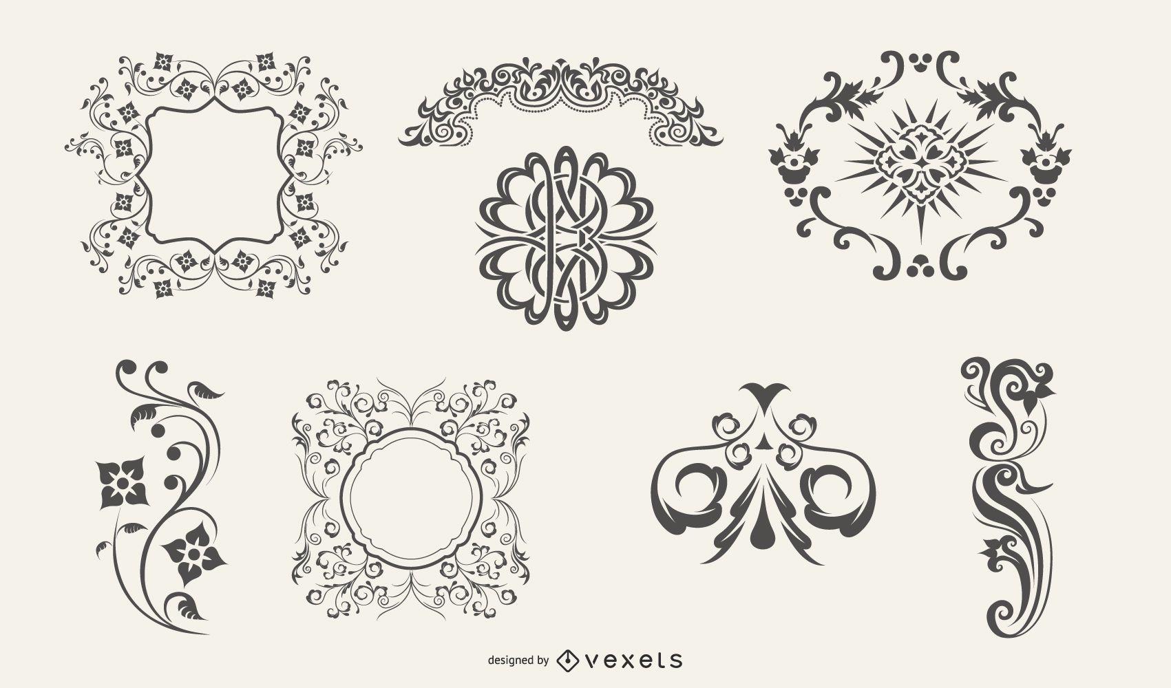 Flourish Swirl Ornament Pack