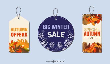 Etiquetas de oferta de invierno y otoño