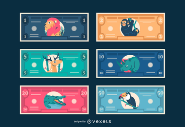 Kid Bucks Animal temático para jugar dinero imprimible