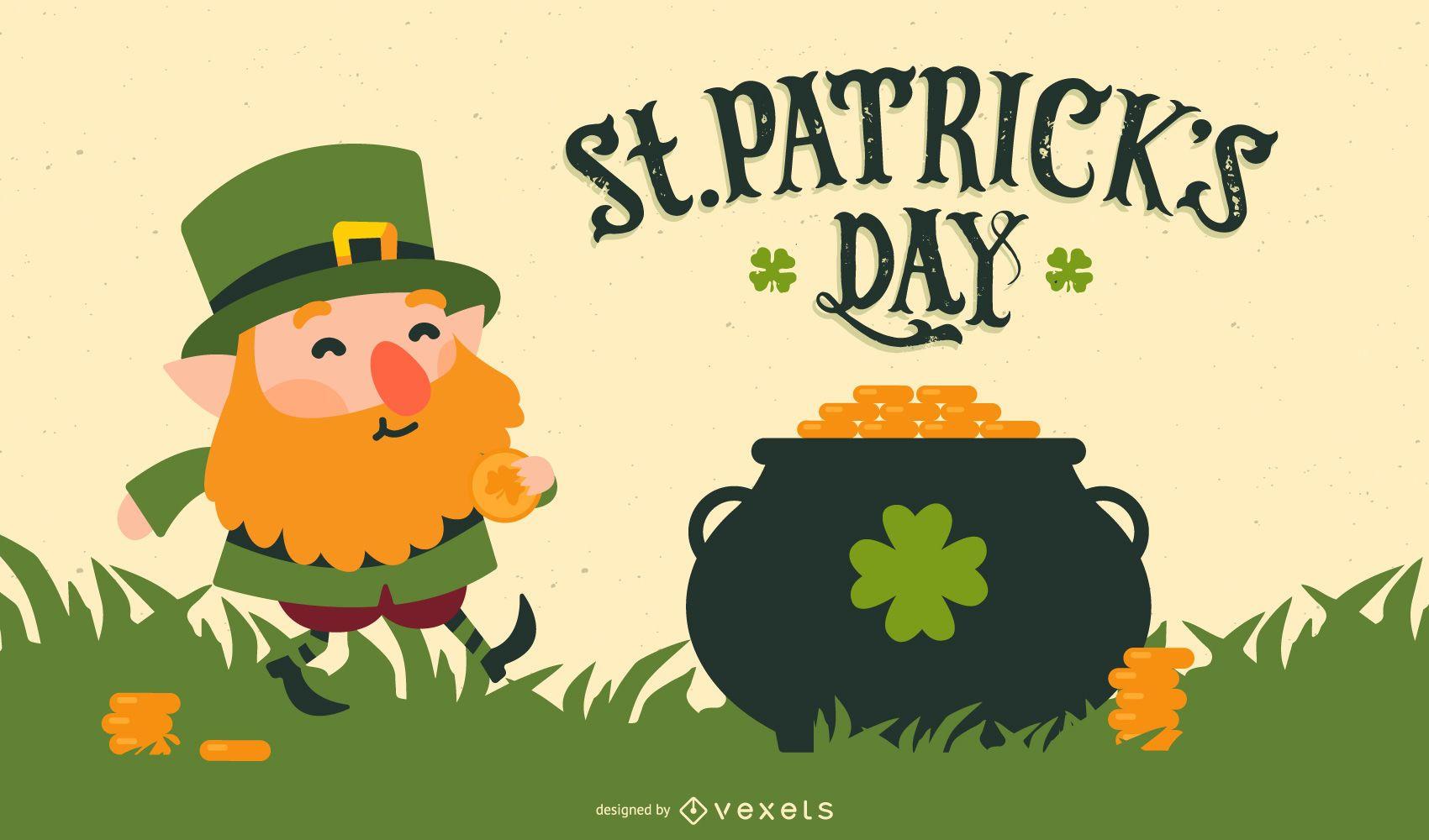 st. patrick's day leprechaun illustration