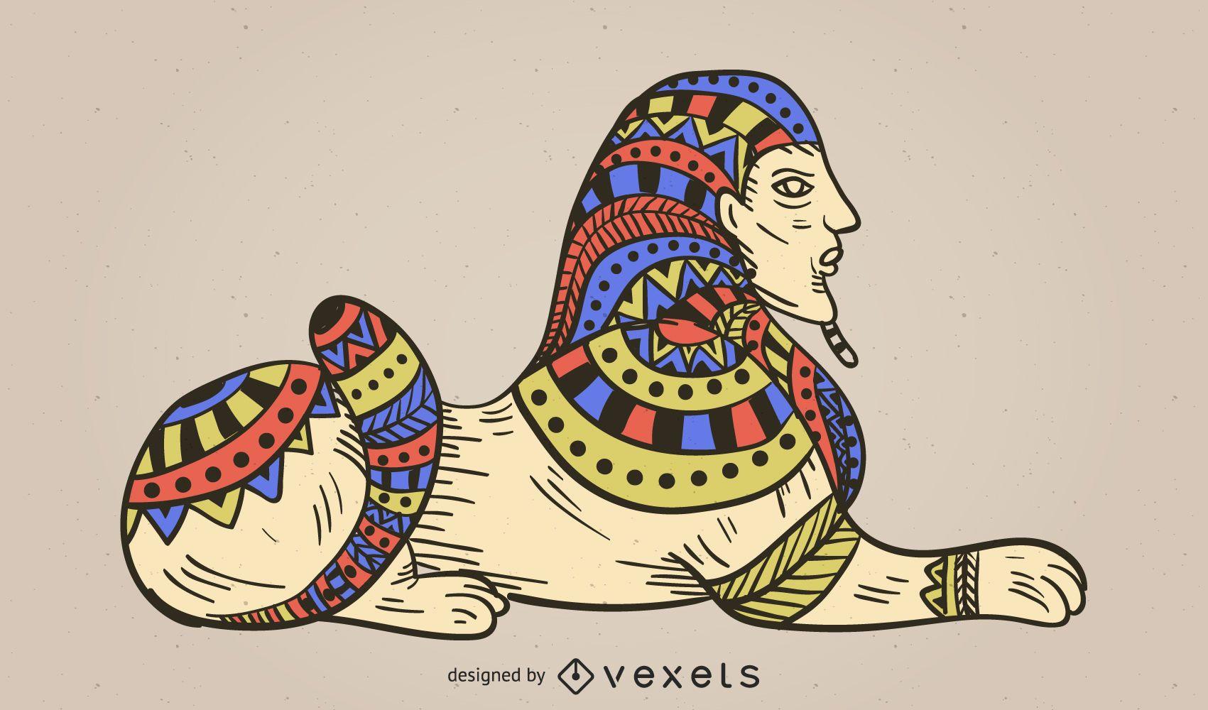 Colorful Sphinx Illustration Design