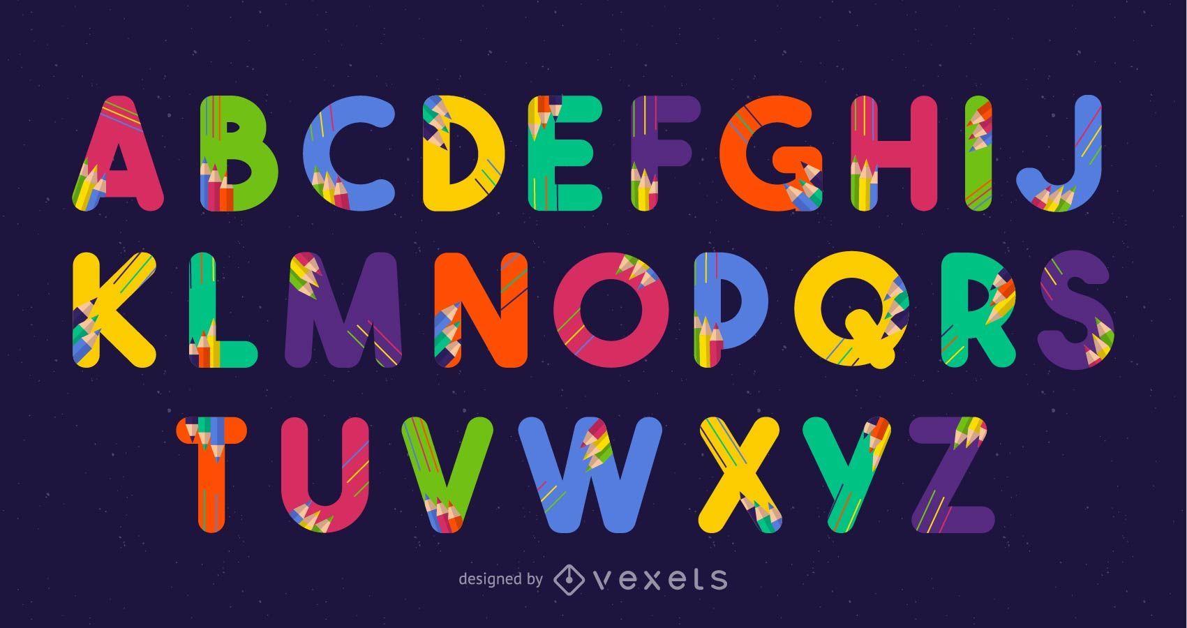 Pencils Font Design Vector