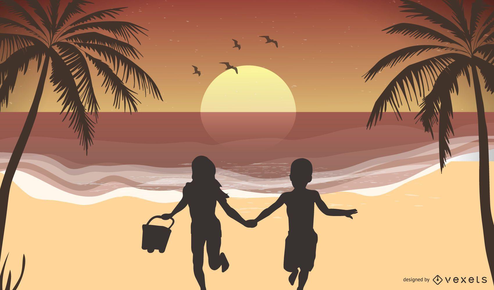 Children summer beach illustration
