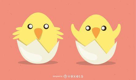 Vector lindo huevo de pascua pollitos