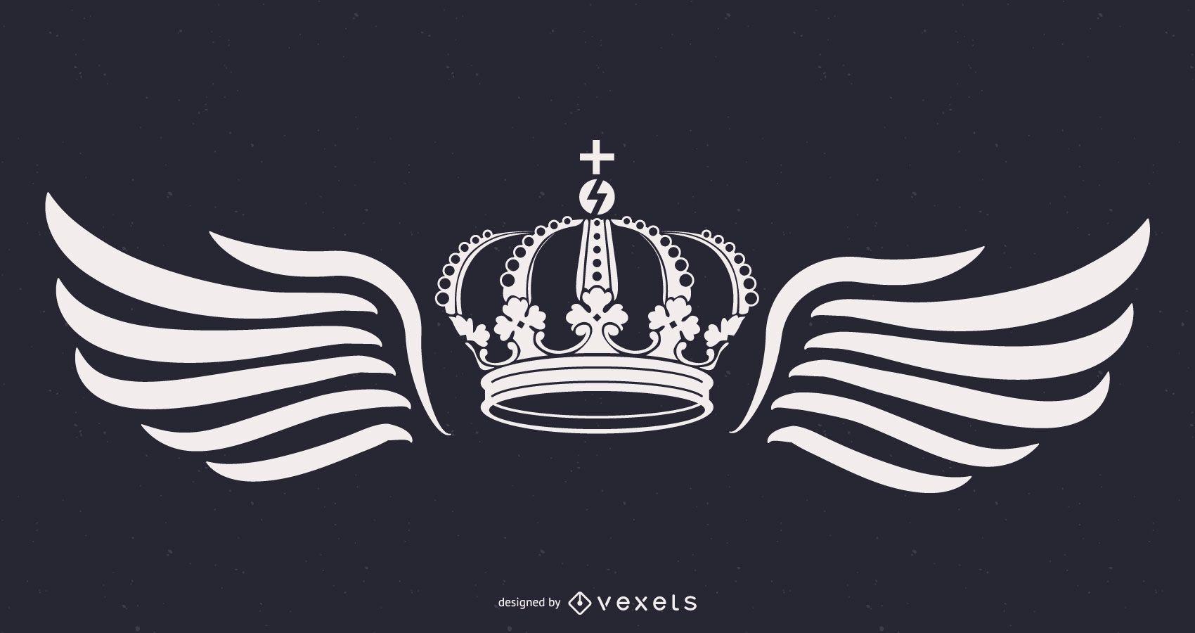 corona de rey y alas ilustración