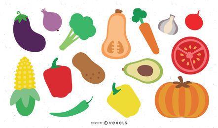 Conjunto de 18 verduras de colores.