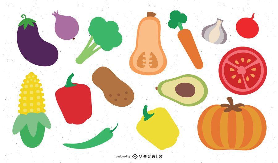 Conjunto de 18 legumes coloridos