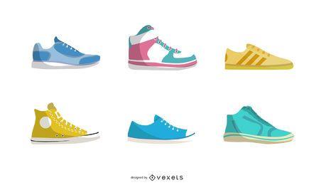 Colores de diferentes estilos de vector de zapatos