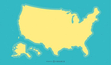 Diseño de fondo de mapa de Estados Unidos amarillo