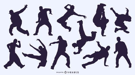 Dancing People Silhouettes Background