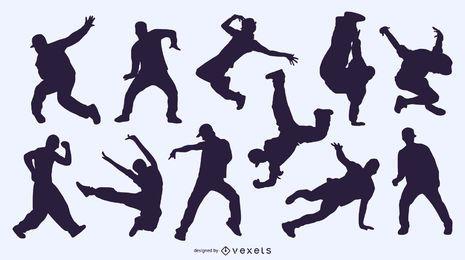 Fondo de siluetas de personas bailando