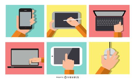 Electronic devices illustration set