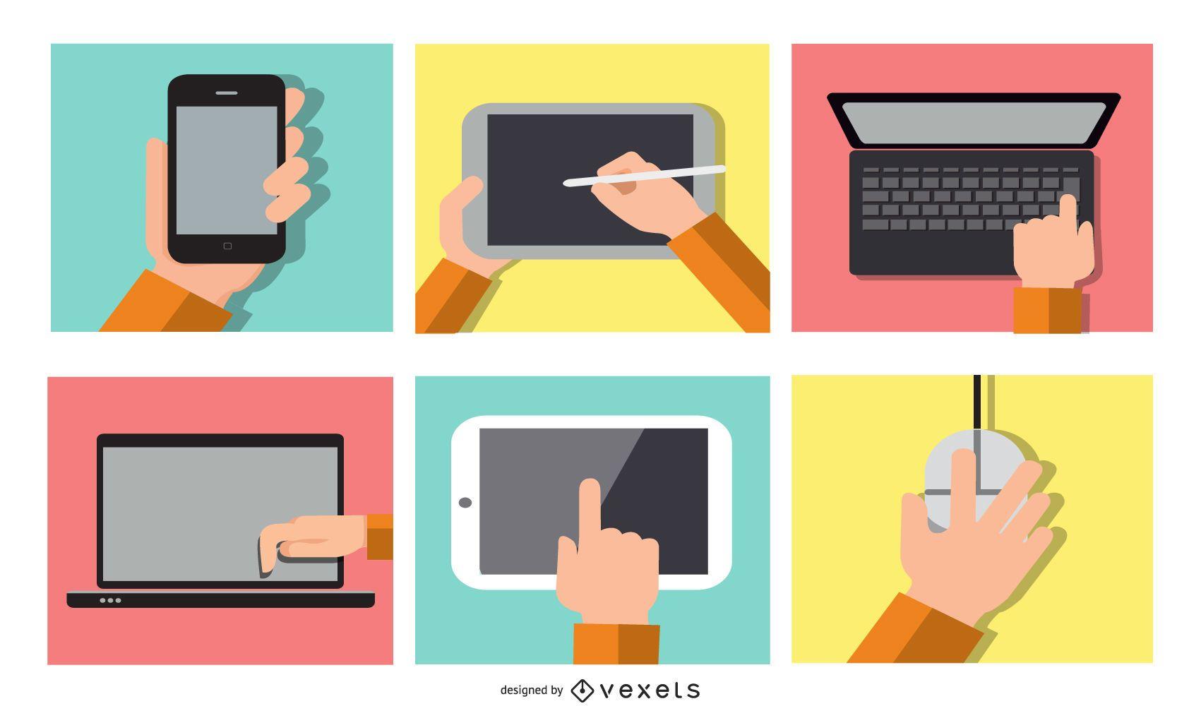 Electronic devices illustration set