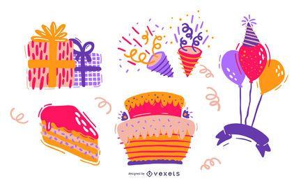 Conjunto de elementos de design de aniversário