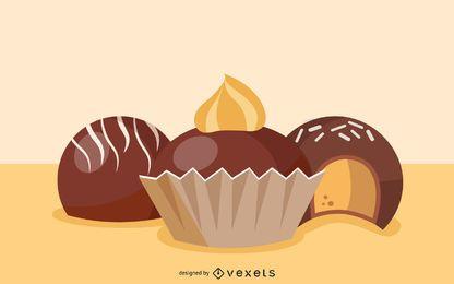 Chocolate truffles illustration design