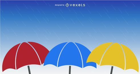 Umbrellas In The Rain Vector