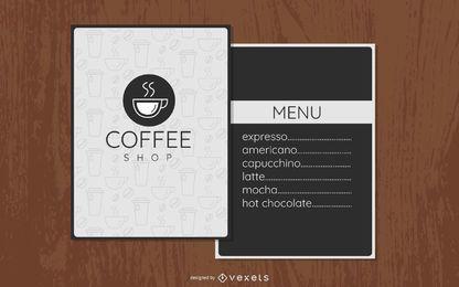 Diseño de menú minimalista de cafetería