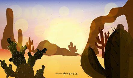 Ilustración de paisaje de desierto simple