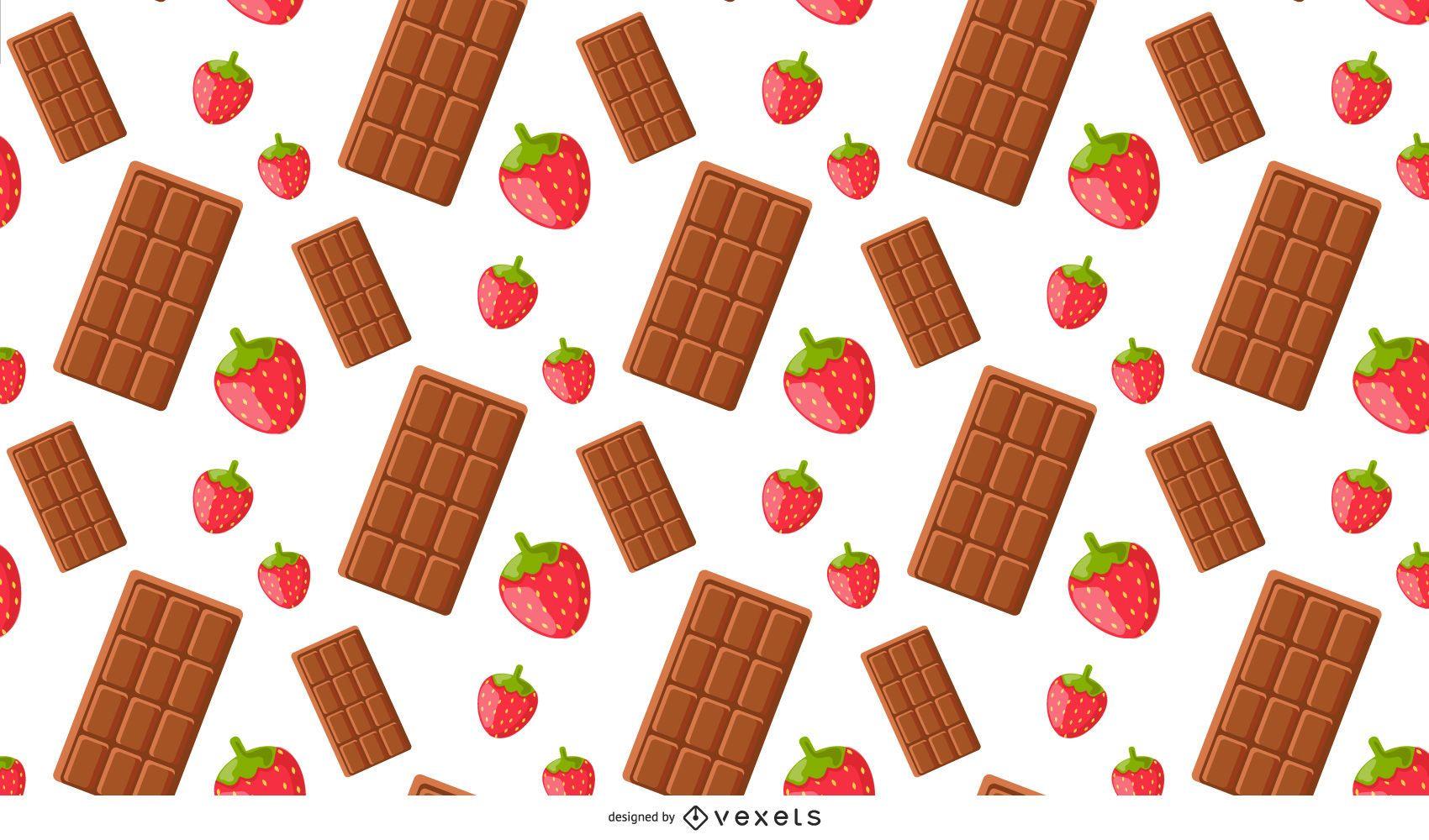 Patrón dulce de fresa y chocolate