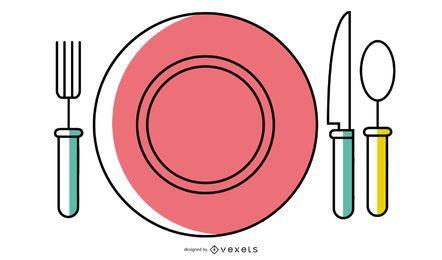 Vetor ocidental dos utensílios de mesa