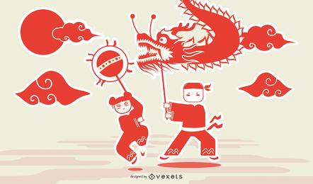 Vetor de dragão papercut