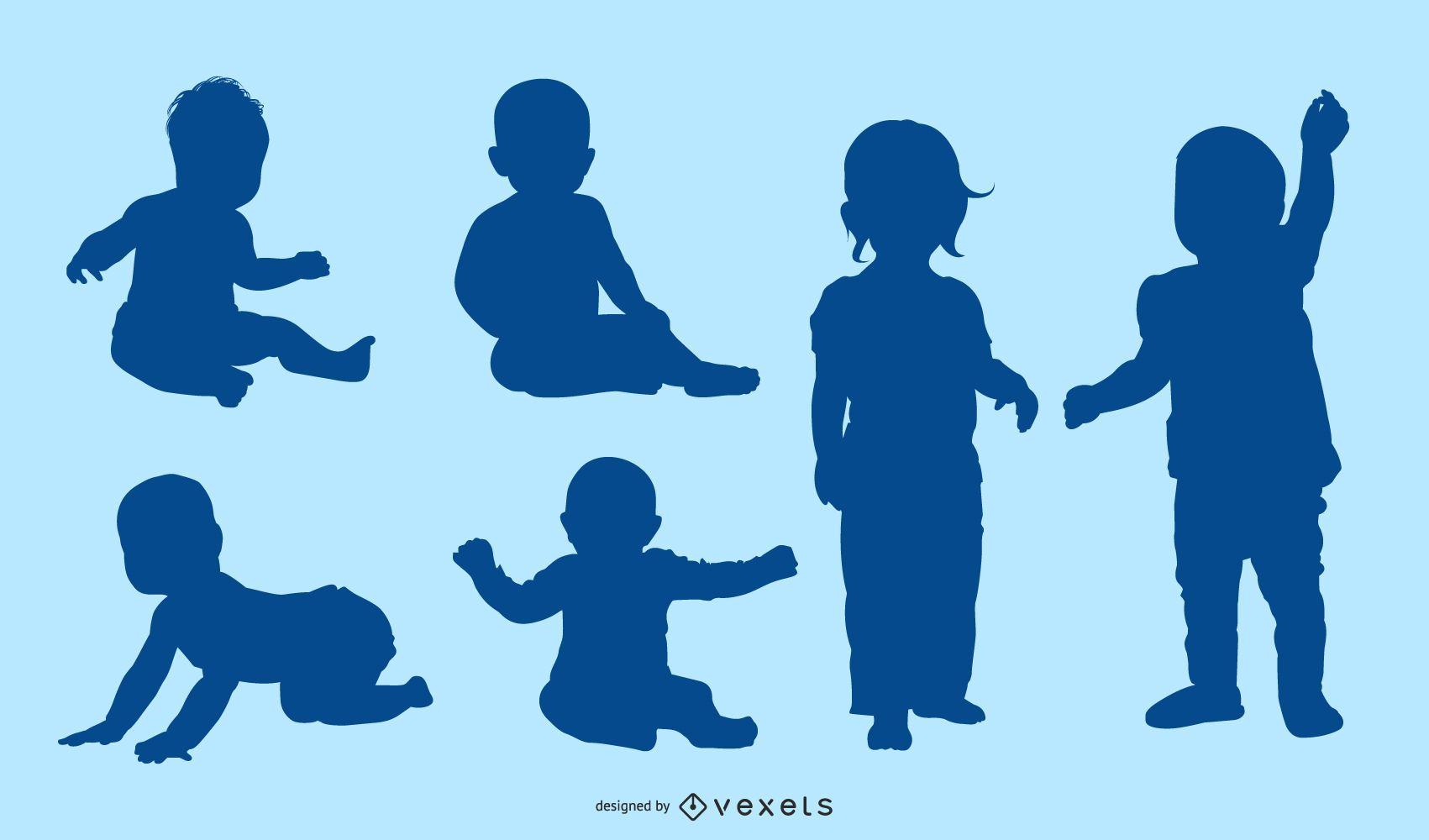 children blue silhouette collection set