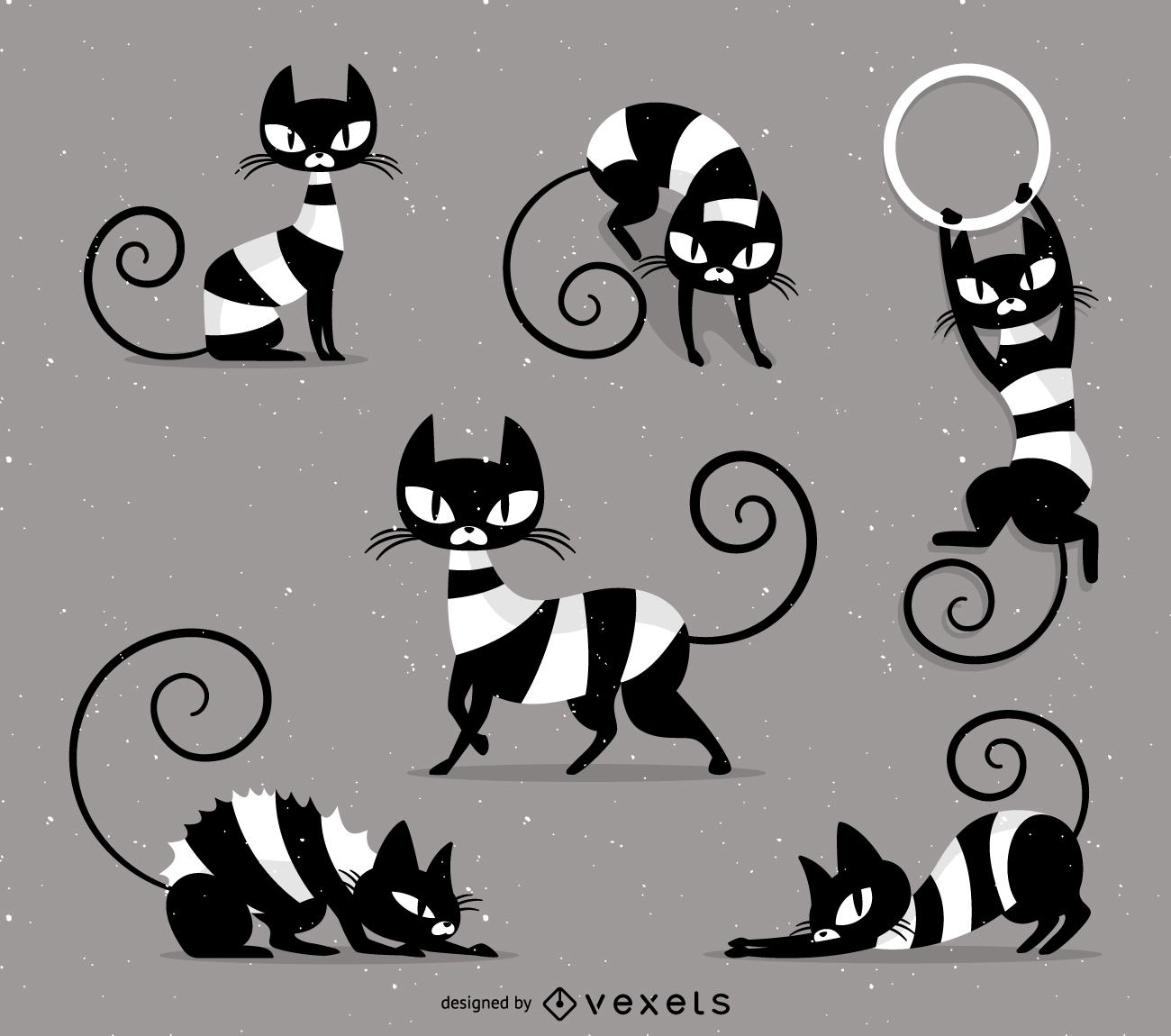 Vector de gato rayado travieso