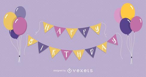 Feliz cumpleaños globo vector
