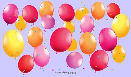 Bellamente coloreado globos 02 Vector