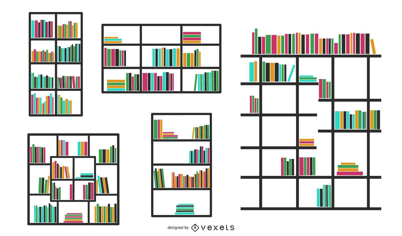Solid Wood Bookshelves Vector 1