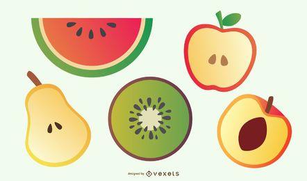 Fatias de frutas deliciosas 01 Vector