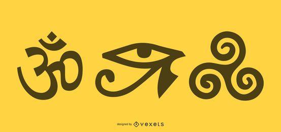 Mapa de objetos y símbolos budistas tibetanos del vector de nueve armas