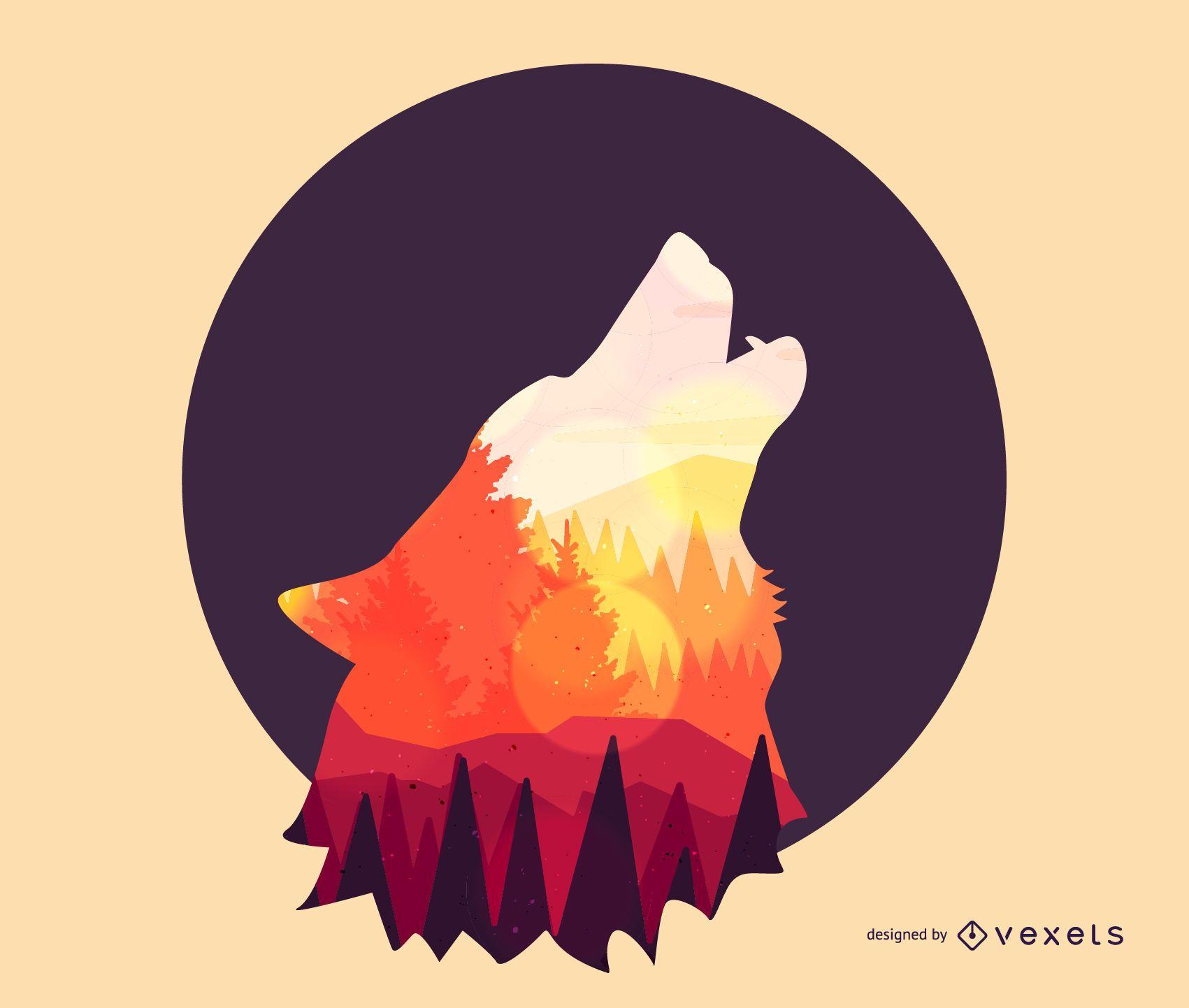 Desenho de lobo irritado