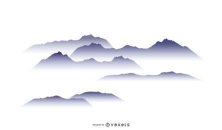 Conjunto de diseño de montaña nublada