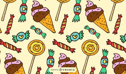 Patrón de dibujos animados dulces y caramelos