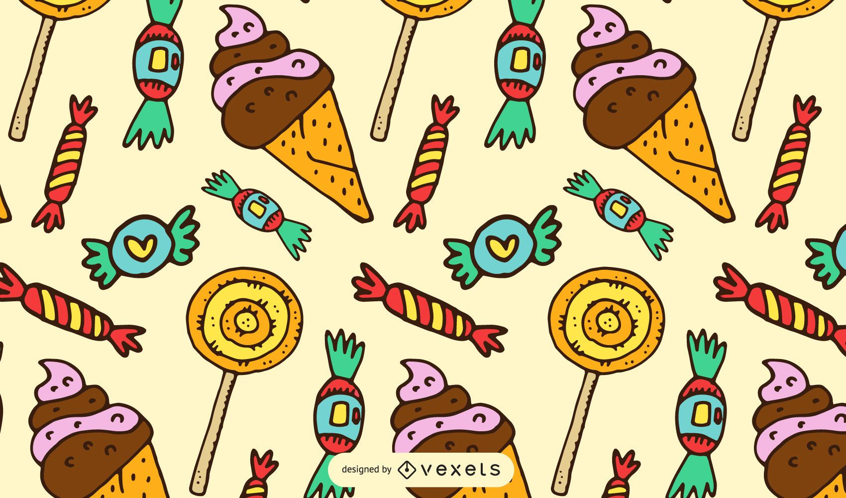 Cartoon sweets and candies pattern