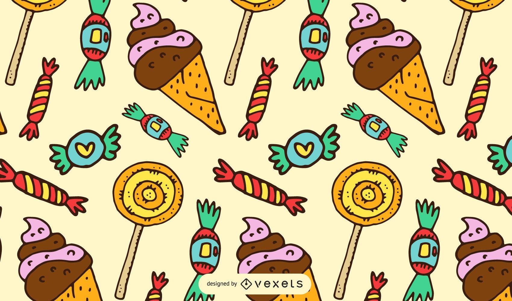 Patr?n de dibujos animados dulces y caramelos