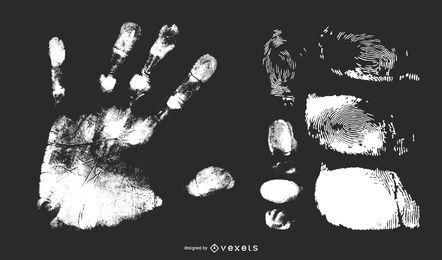 Hand palm and Fingerprint Vector