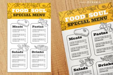 Modelo de menu com comida ilustrada