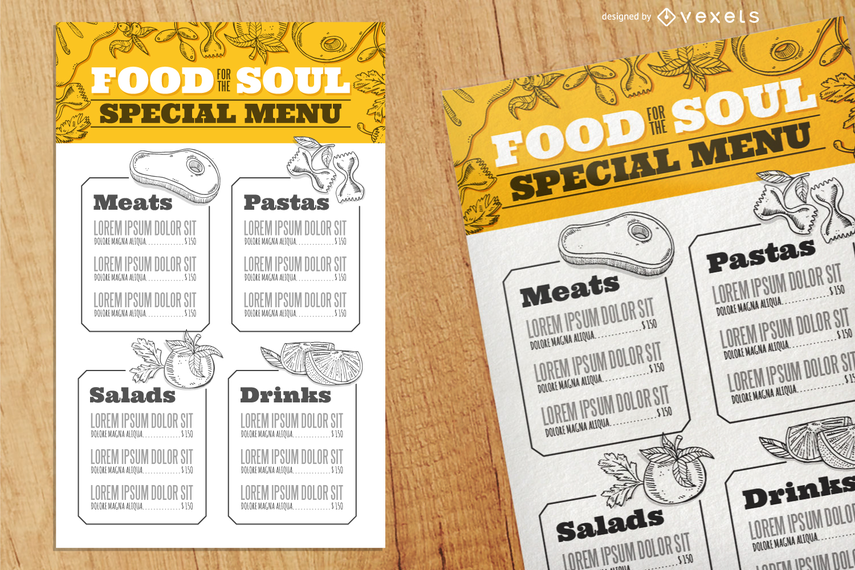 Plantilla de menú con comida ilustrada
