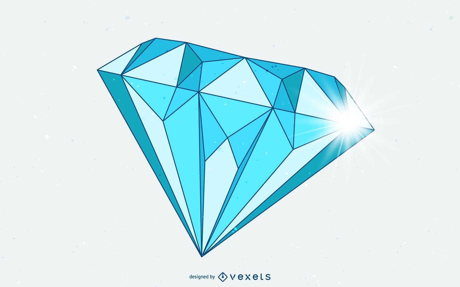 Desenho De Diamante Azul Isolado Baixar Vector